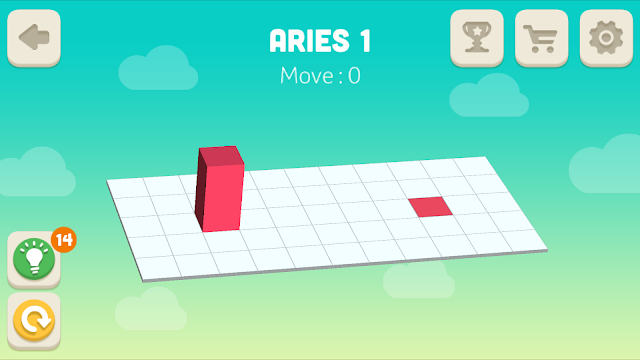 Bloxorz Aries Level 1 step by step 3 stars Walkthrough, Cheats, Solution for android, iphone, ipad and ipod