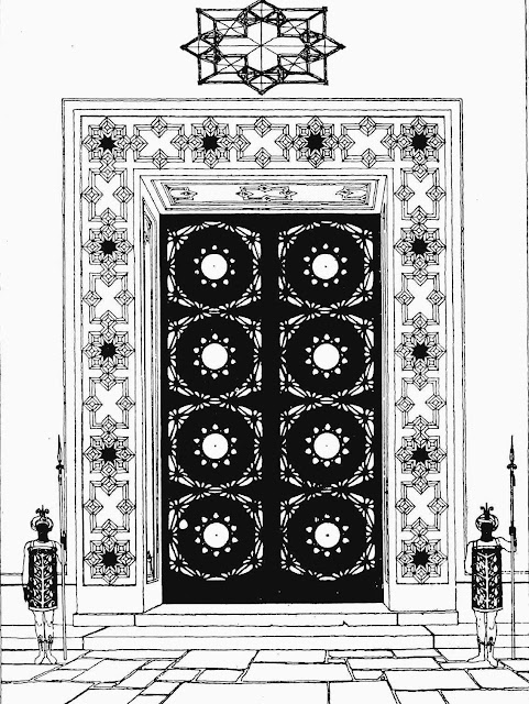 Claude Bragdon illustrated design for large doors