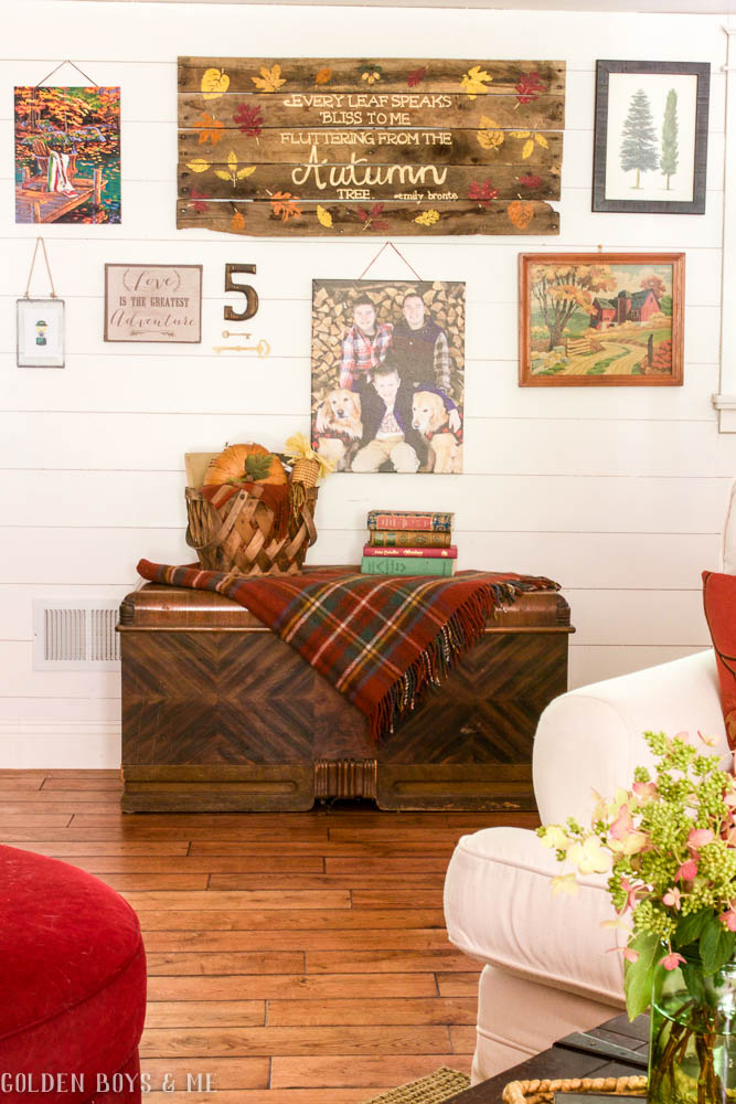 Planked Gallery Wall with DIY pallet sign and paint by numbers with fall decor -www.goldenboysandme.com