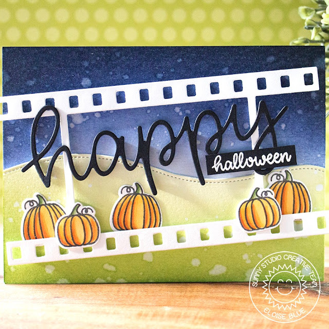 Sunny Studio Stamps: Happy Thoughts Fall Flicks Filmstrip Happy Harvest Happy Halloween Card by Eloise Blue