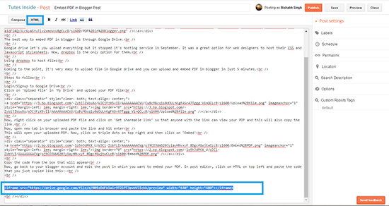 HTML Post Editor In Blogger