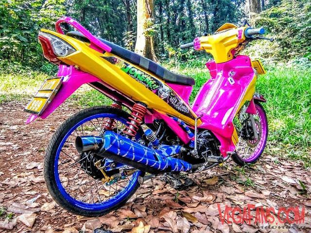 Vega ZR Modif Thailook Kuning Pink Biru Simple Keren