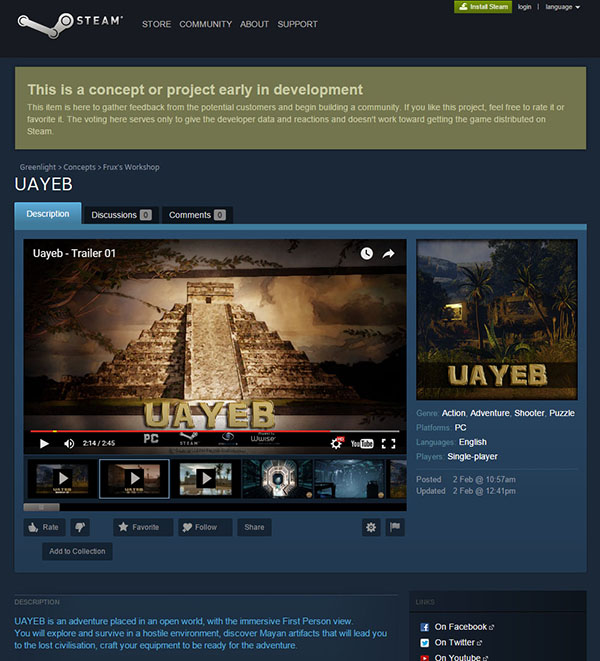 Steam Greenlight Concept Page