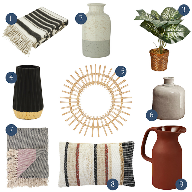Autumn Homeware decor for under £20 on the high street including Autumn Winter 2018 pieces from Marks and Spencer, Sainsbury's, Matalan, Amara, JD Williams and Homesense Autumn 2018