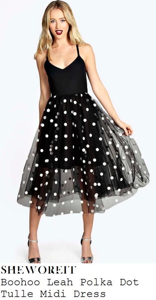 ferne-mcccann-black-and-white-sleeveless-polka-dot-mesh-skirt-midi-dress-blog-launch
