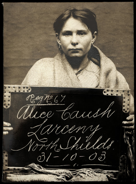 Mugshot of Alice Caush, arrested for larceny in North Shields (October 31, 1903) Tyne & Wear Archives & Museums