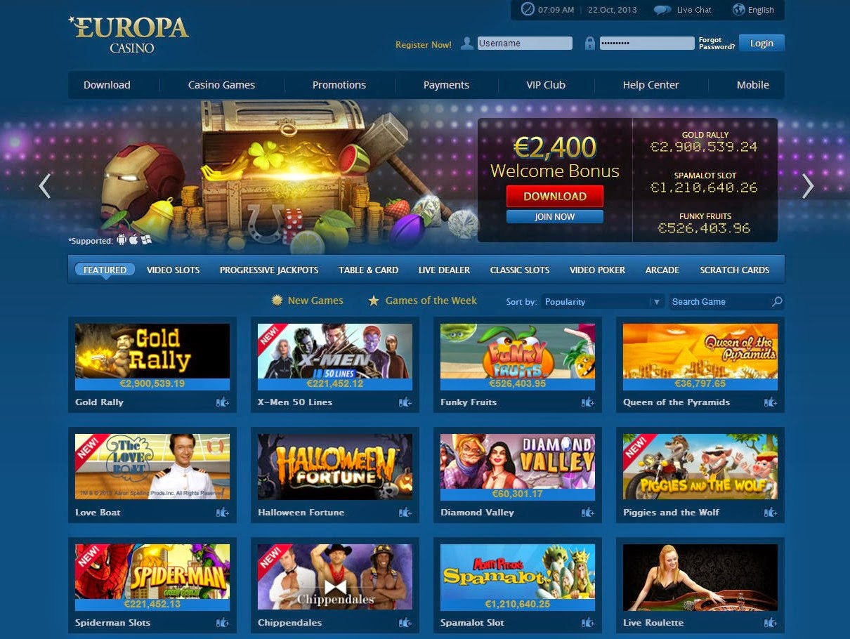 Europa Casino Games Screen