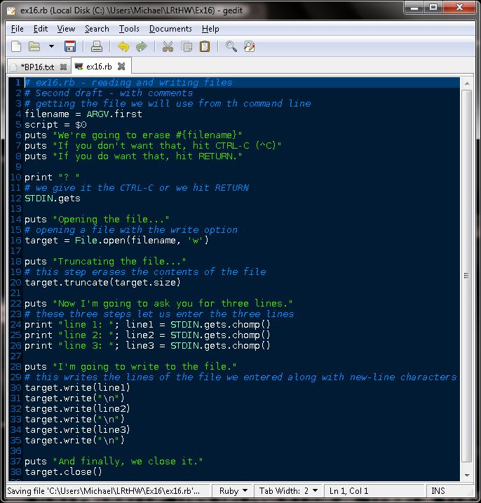 TESTHEAD: Exercise 16: Reading And Writing Files: Learn Ruby