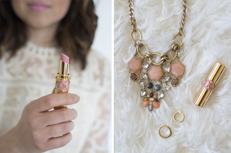 YSL Lipstick, gold midi rings and crystal necklace