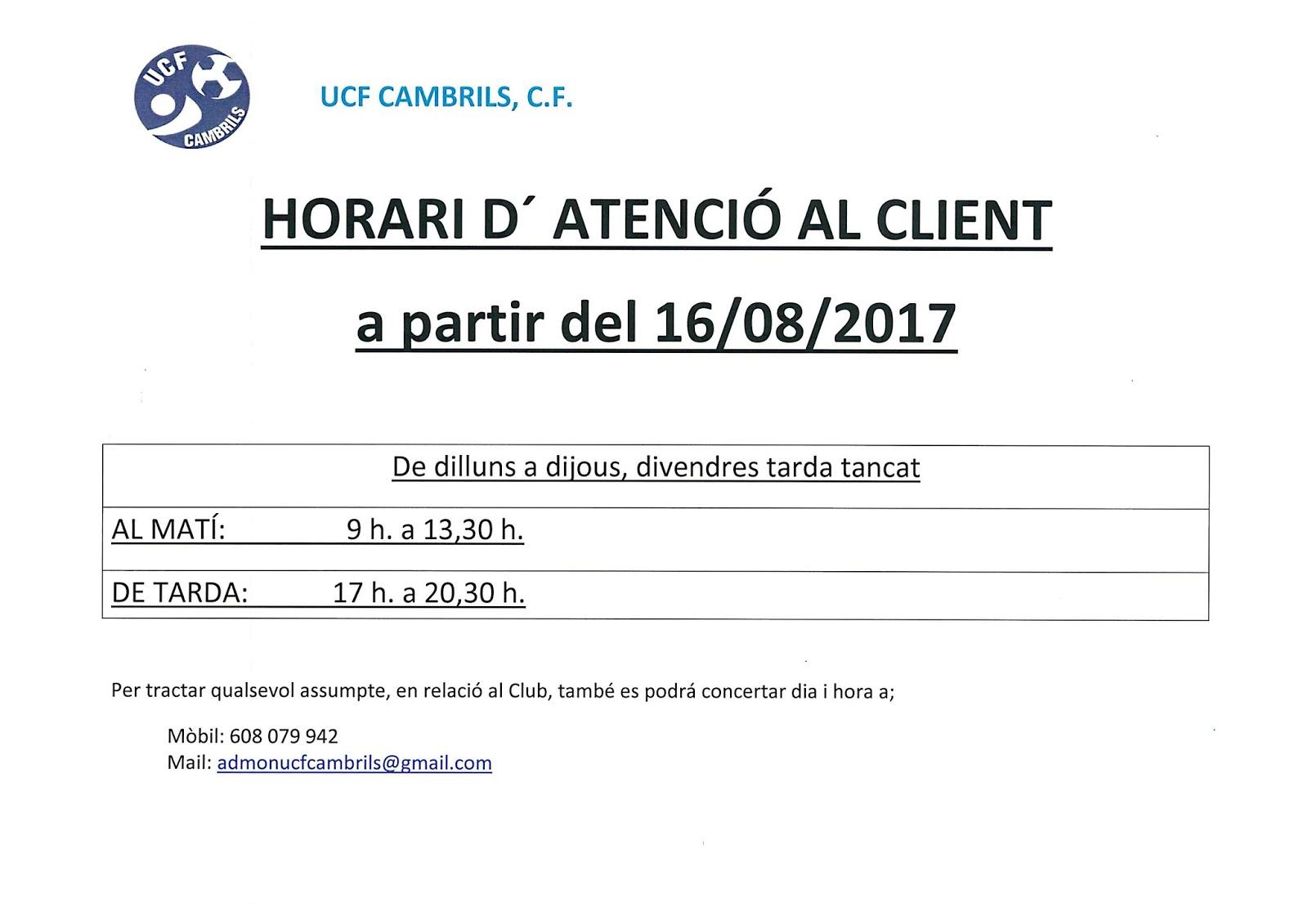 Les not cies del cambrils ucf for Horario oficina adeslas