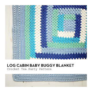 Log Cabin Baby Buggy Blanket on Crochet Tea Party