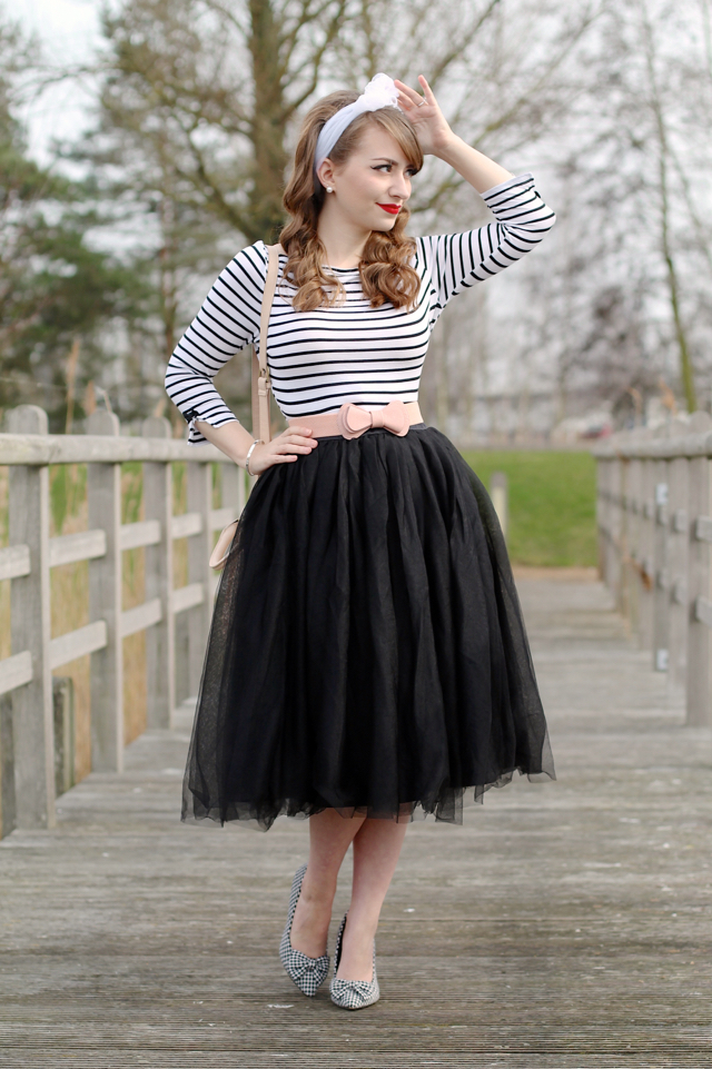Lindy Bop black tulle skirt review with striped Banned top