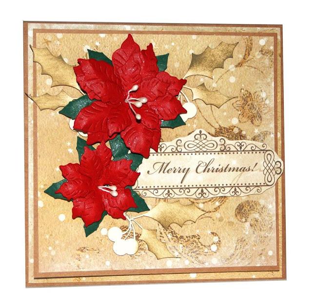 kartka świąteczna z listkami ostrokrzewu z EKO-DECO