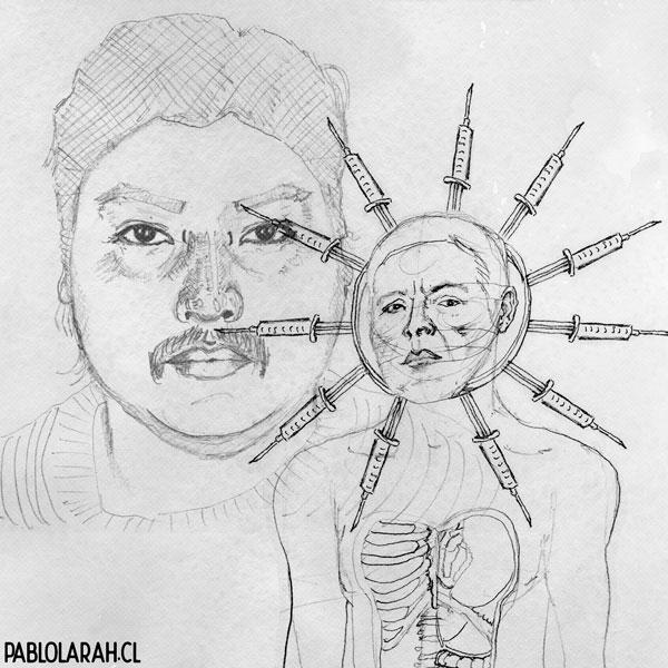 sketch, Illustration,Pedro Lemebel, Camilo Carillanca, Pablo Lara H