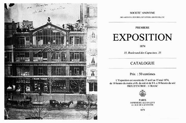 Fotografía del exterior del taller de Nadar en el Boulevard des Capucines, donde se realizó la primera exposición impresionista.  Catálogo de la exposición.