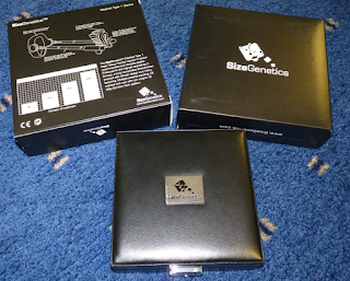 photo showing the box and leather case that come with sizegenetics