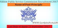 Sikkim Public Service Commission Recruitment 2017– Principle