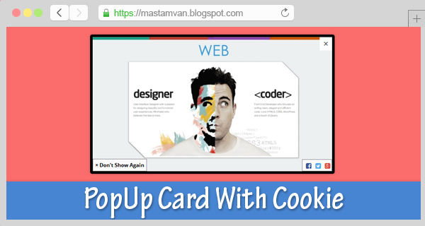PopUp Card Image With Cookie