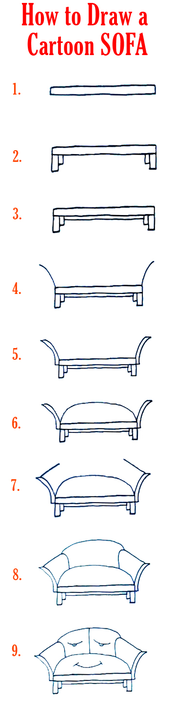 How To Draw A Cartoon Sofa Furniture K D P