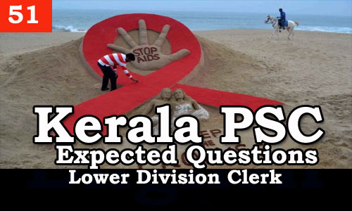 Kerala PSC - Expected/Model Questions for LD Clerk - 51