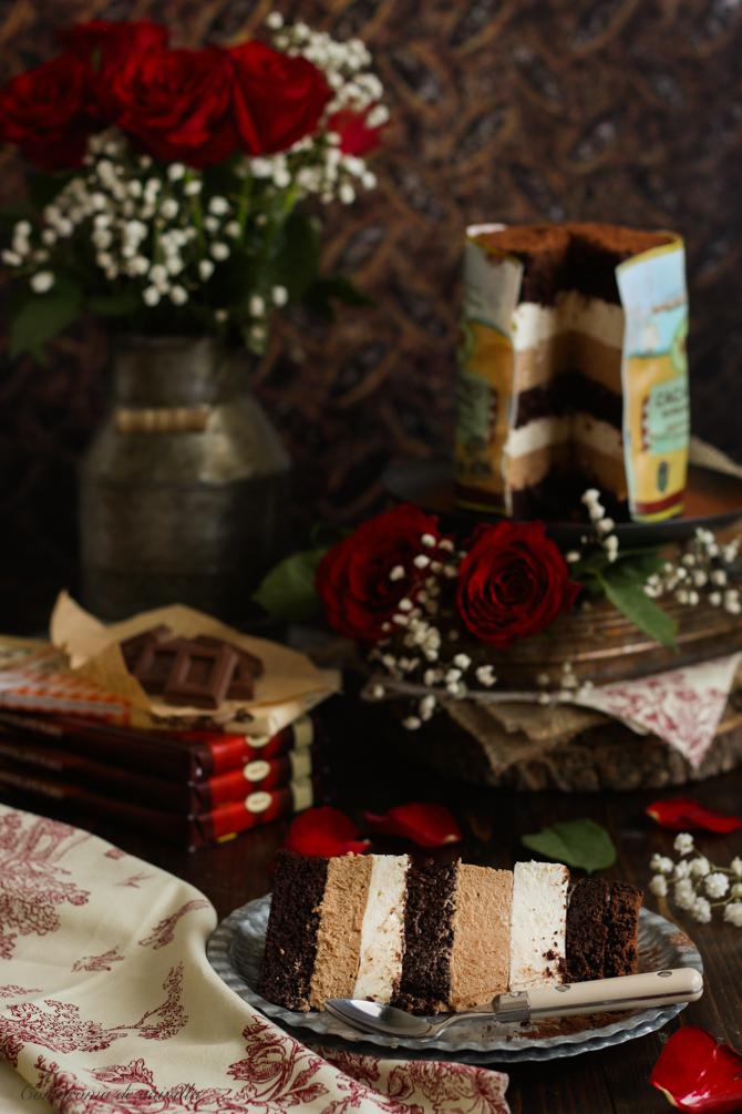Tarta de chocolate, queso y gianduja al caramelo