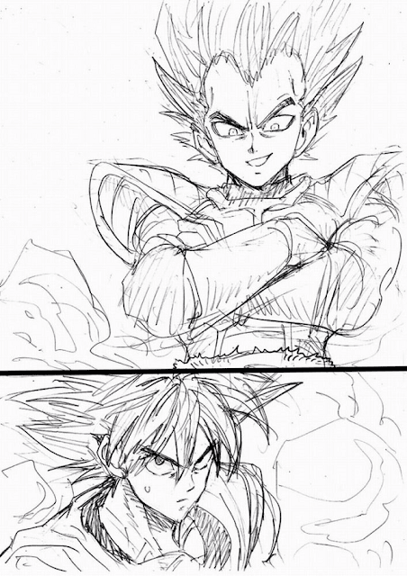 Sketsa Goku dan Vegeta Dragon Ball