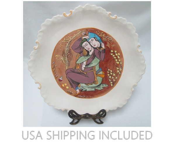 Erotic Painting on a Ceramic Platter