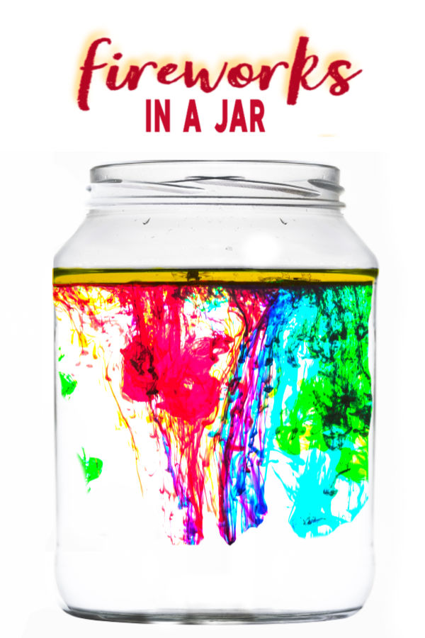 Explore liquid densities with this fun & magical experiment for kids!  My girls loved making fireworks in a jar and used this activity for their science fair project, too! #scienceactivities #scienceactivitiesforkids #fireworksinajar #fireworksinabottle #fireworkscraft #scienceexperimentskids #scienceforkids #sciencefairprojectsforelementary #sciencefairprojects
