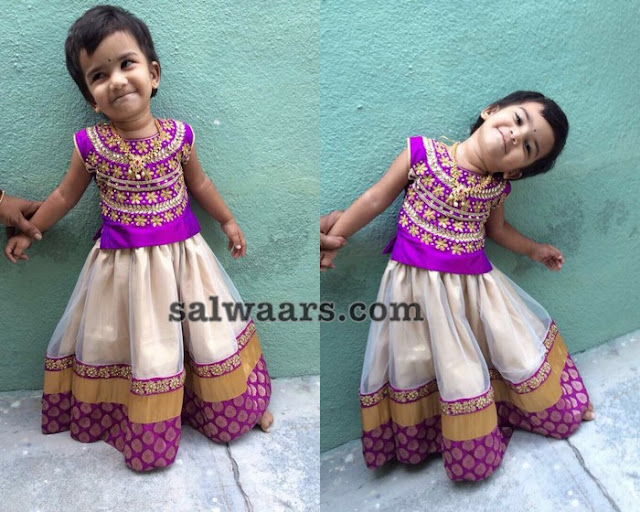 Cute Doll in Beige Net Lehenga