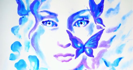 A female portrait painted with methylene blue and gentiana violet