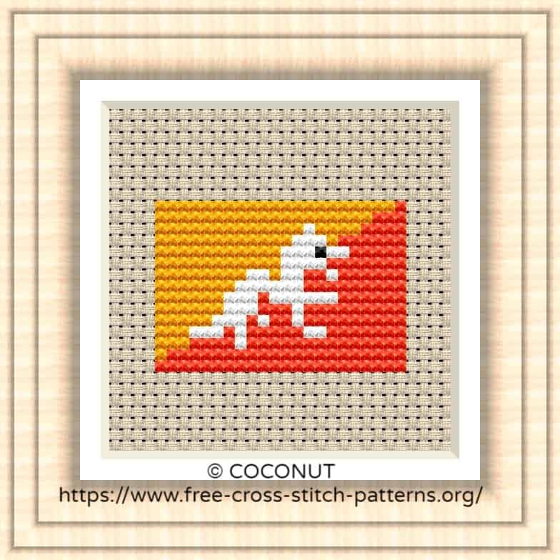 NATIONAL FLAG OF BHUTAN CROSS STITCH CHART