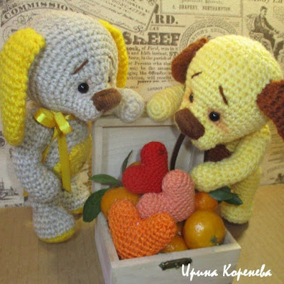 Влюбленные собачки амигуруми