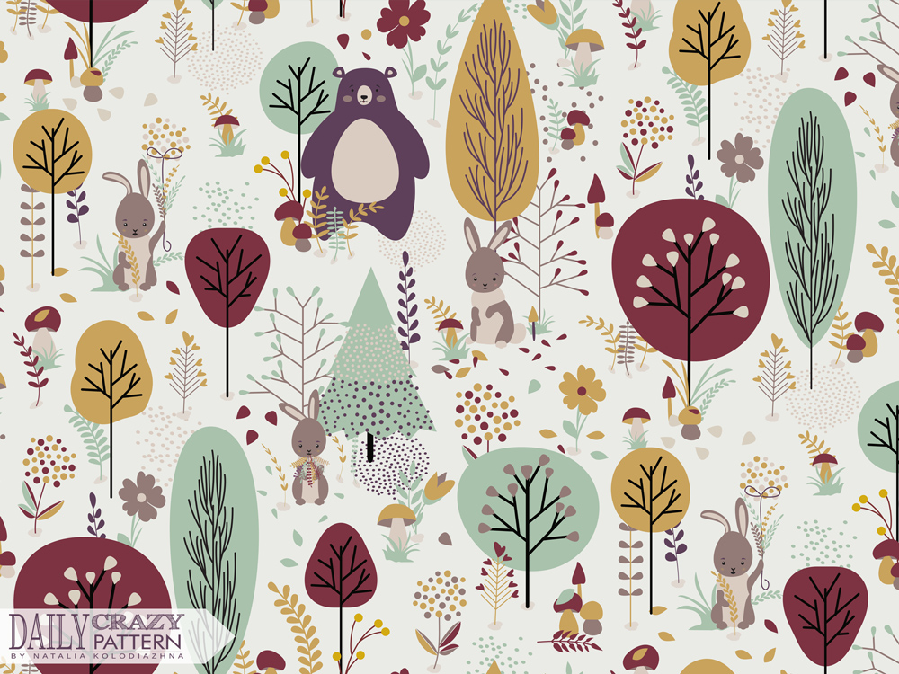 "Autumn art print for ""Daily Crazy Pattern"" project"