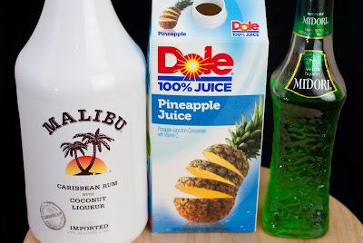ninja turtle cocktail, TMNT, malibu rum, coconut rum, melon liqueur, midori, pineapple juice