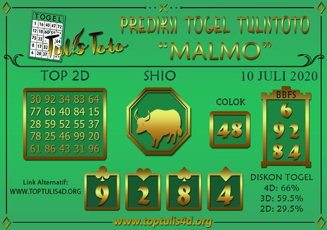 Prediksi Togel MALMO TULISTOTO 10 JULI 2020