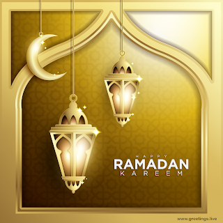 Ramadan Kareem Images with golden glow lantern.