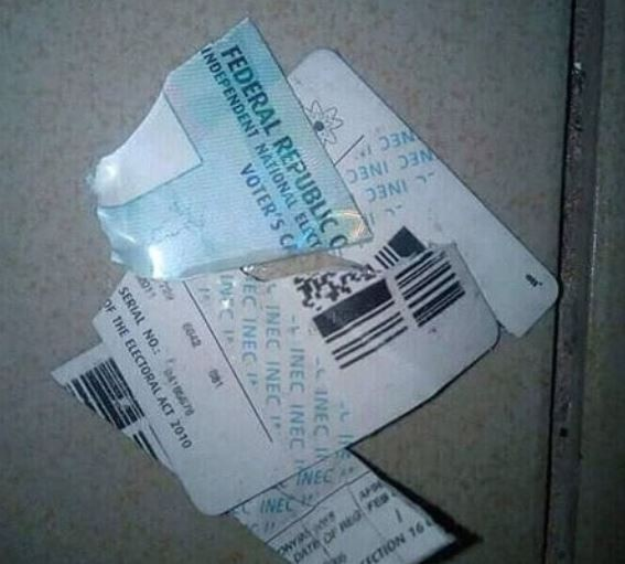 Angry man destroys his PVC after Ekiti Elections