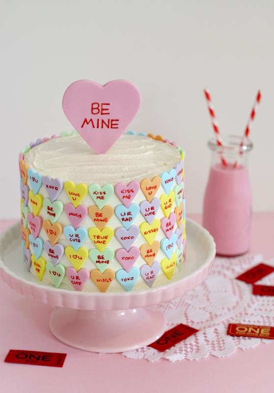 butter hearts sugar: Conversation Heart Valentines Cake