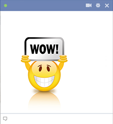 Facebook emoticon holding wow sign