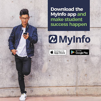 Poster for MyInfo app.  Young man leaning against a wall with mobile device.  Text: Download the MyInfo app and make student success happen