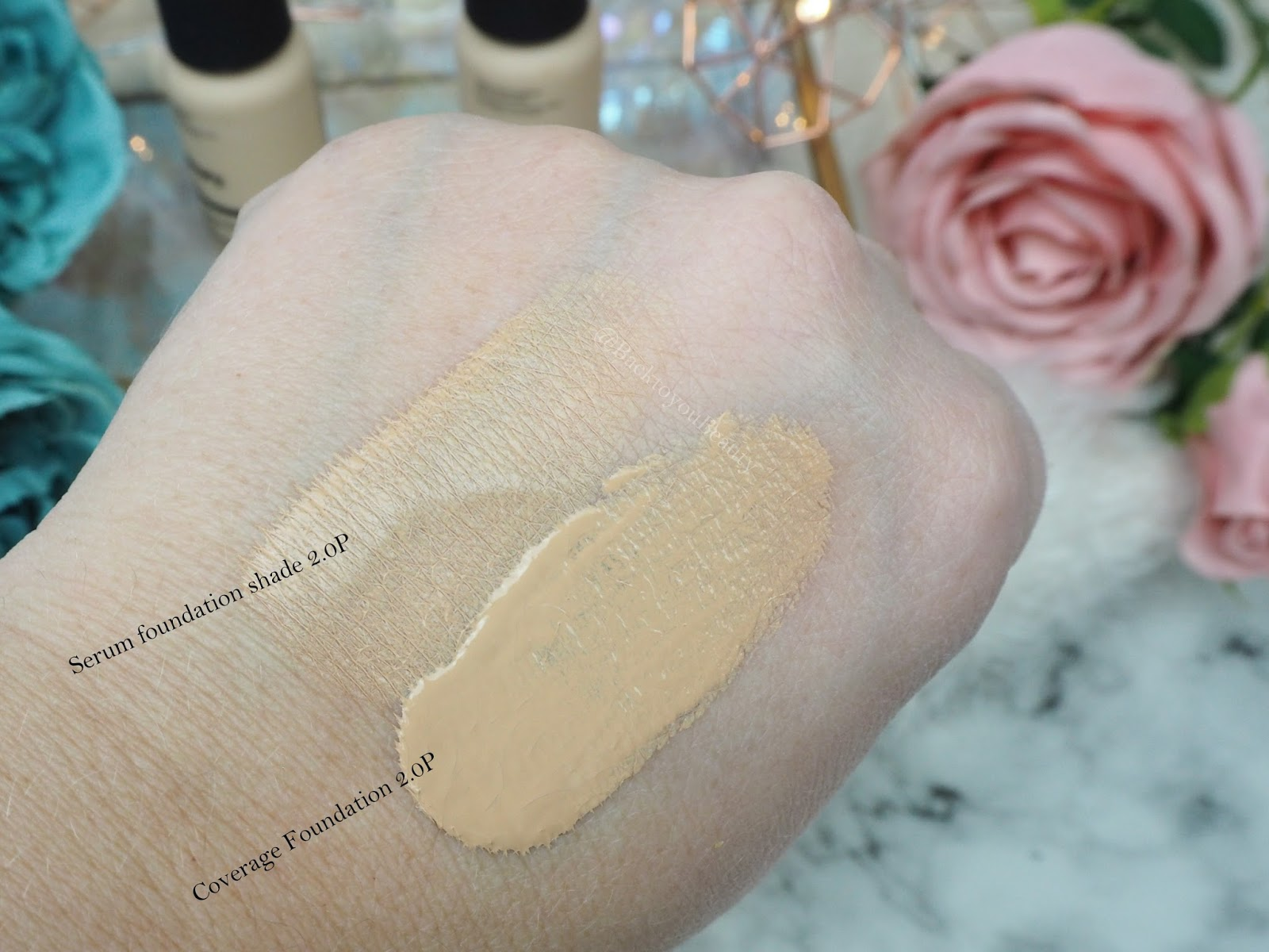 The Ordinary Serum and Coverage foundation swatches