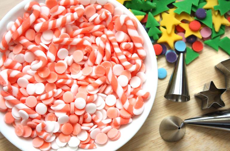 homemade candy cane fondant sprinkles