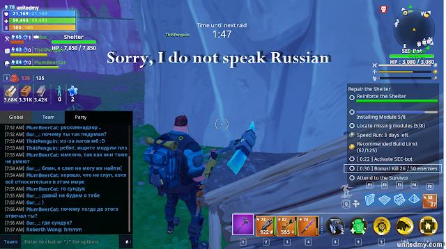Russian playing fortnite