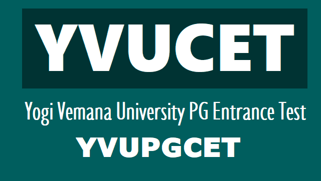 YVUCET 2018-2019 notification, apply online Yogi Vemana University PGCET