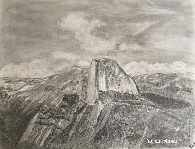 Pencil Drawing - Half Dome from Glacier Point, Yosemite