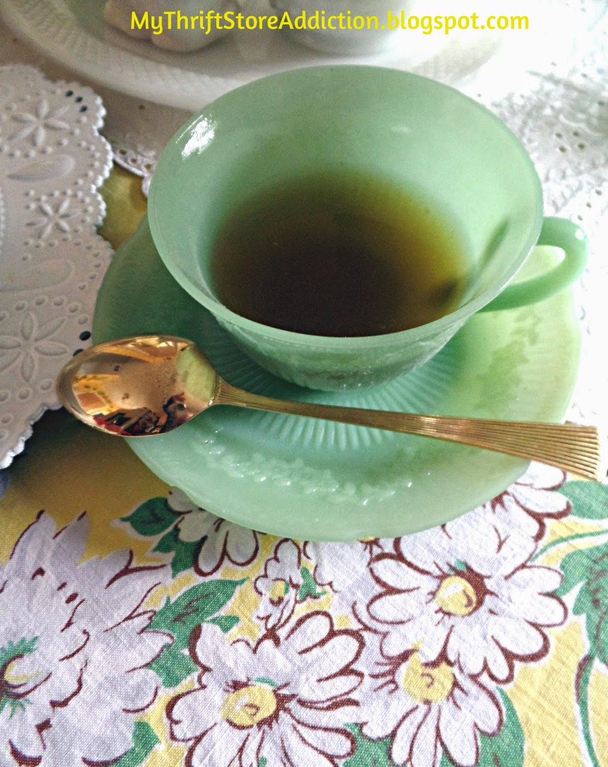 Vintage jadeite Alice tea cup