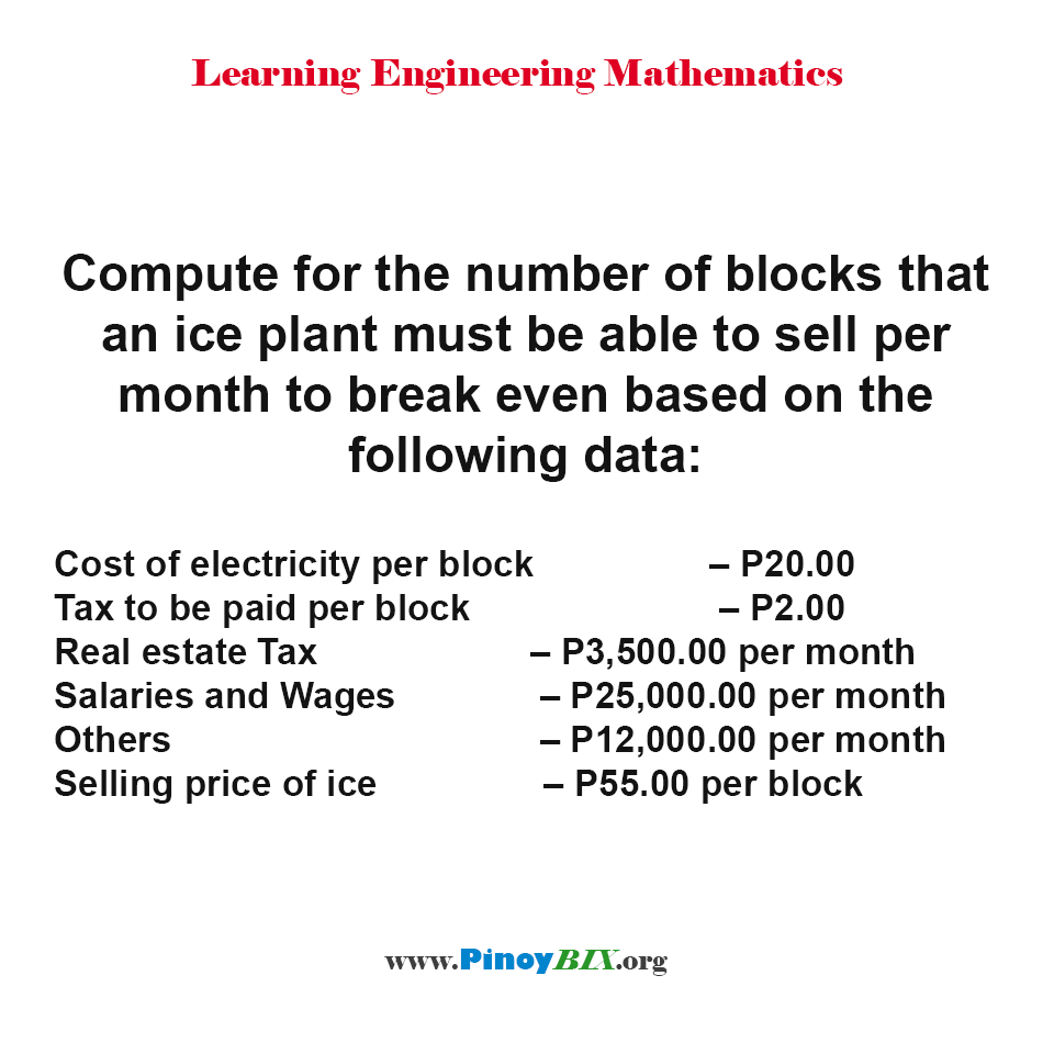 Compute for the number of blocks of ice to sell per month to breakeven