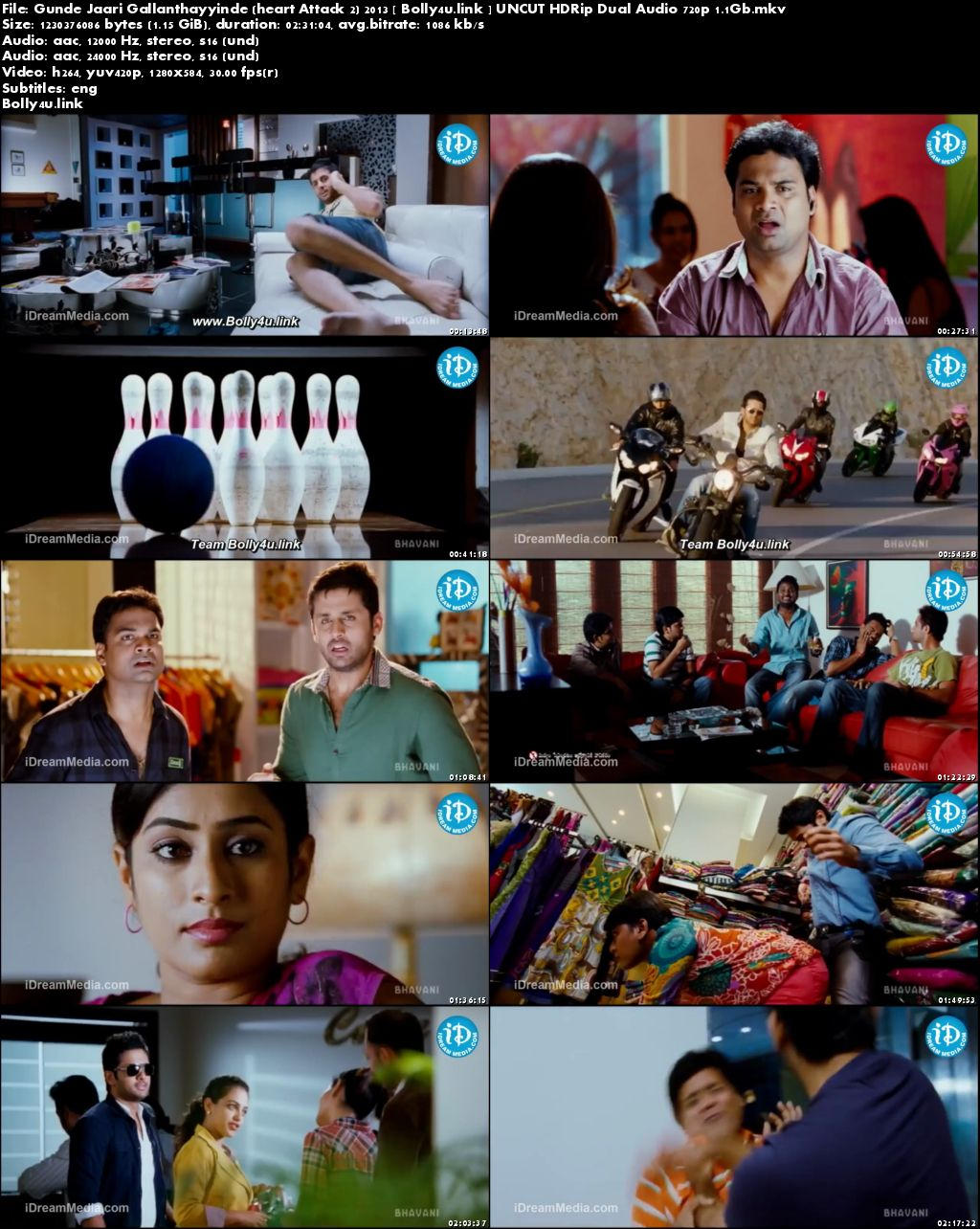 Gunde Jaari Gallanthayyinde 2013 HDRip 450MB UNCUT Hindi Dual Audio 480p Download
