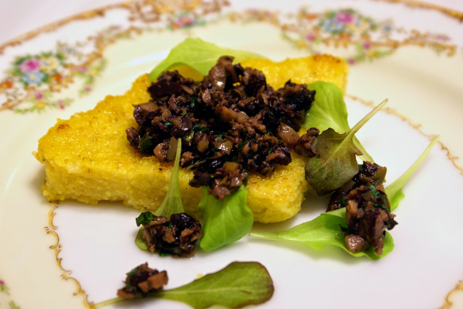 Crispy Polenta Wedges with Olive Tapenade