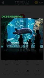 В океанариуме плавают рыбы за стеклом, рядом стоят зрители их рассматривают